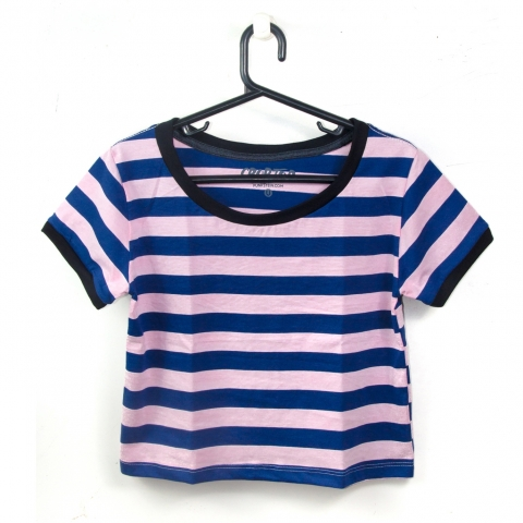 Crop Striped Navy | Soft Pink