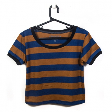 Crop Striped Navy | Caramel