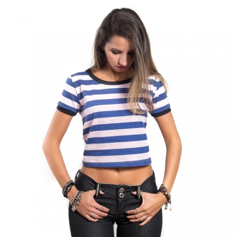 Cropped Striped Navy | Soft Pink