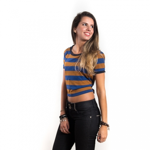 Cropped Striped Navy | Caramel